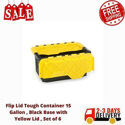 Flip Lid Tough Container 15 Gallon , Black Base With Yellow Lid , Set Of 6