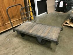 Antique Fairbanks Wooden Railroad Baggage Cart With Removeable Handle