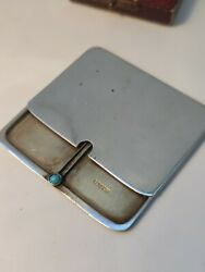 Solid Silver Double Stamp Case With Cabochon Turquoise Button Slider 1906 A Bros