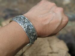 Navajo Cuff Bracelet Horses Sterling Silver Signed Native Jewelry Sz 7 In