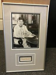 """Rare Framed Photo And Autograph Of Willa Sibert Cather Cut Signature 18.5""""x11.5"""""""