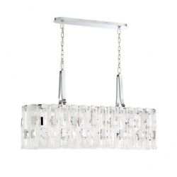 Oval Chandelier 9 Light  Chrome Finish With Clear Glass - Chandelier -