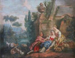 A Fine 19th Century French Oil On Canvas Painting In The Style Of Fragonard
