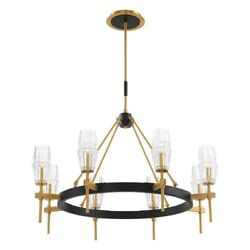 Chandelier 8 Light Glass/metal Antique Brass/black Finish With Clear Textured