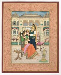 Mughal Miniature Painting Of Mughal Empress Brushing Her Hair Helped With Maid
