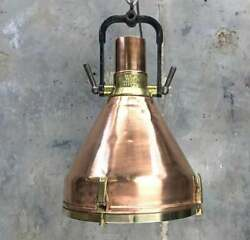 Vintage Copper Deck Light With A Black Iron Bracket, Ready For Use Hanging Light