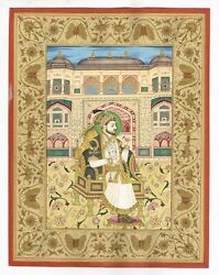 Miniature Portrait Of Mughal Emperor Shahjahan Seated On Royal Chair - Gold Art