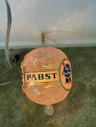 Vintage Pabst Blue Ribbon Spinning Faux Crystal Wall Sconce Bar Light Rare