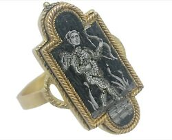3209antique Micro Mosaic Gold Ring Rome Micromosaic.