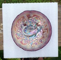 Millersburg Amethyst Carnival Glass Trout And Fly Scalloped Top Bowl