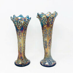 Pair Of Fenton Carnival Glass Vases Knotted Beads Pattern Cobalt Blue Vintage