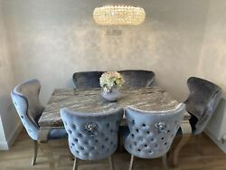 Louis Style Solid Grey Marble Dining Table And Matching Velvet Knocker Chairs