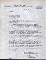 United Artists Corporation 1935 Signed Letter About A Walt Disney Contract