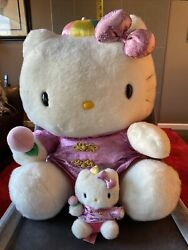 Hello Kitty Vintage Giant And Small Chinese Outfit Plush Set. 1997