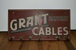 Vintage Grant Batteries Battery Cables Gas Station Advertising Display Rack Sign