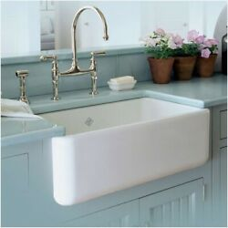 Rohl Shaws Classic Handcrafted Farmhouse Fireclay Apron Front Sink 30x18 White