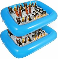Inflatable Outdoor Drinks Food Holder Bar Serving 2pcs With Drain Plug Bbq Picni