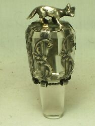 Small Antique Silver Wolf Glass Cork Bottle Stopper Decanter Top Sterling Detail