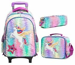 Kids Rolling Backpack for Girls Backpack with Wheels Backpack for Fly Unicorn $80.90