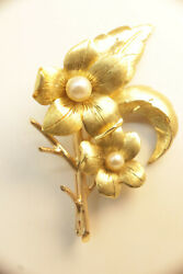 Antique Flower Brooch With Pearls 13.8 Gm Free Shipping