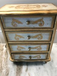 Vintage Italian Or French Country Florentine Jewelry/music Boxhand Painted