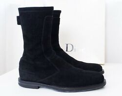 Aw04 Dior Homme 'votc' Black Suede Leather Motorcycle Boots 41 / 7 Hedi Slimane