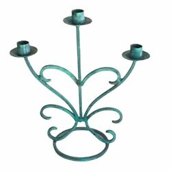 Antique Old Wrought Iron Three Candle Holder Stick