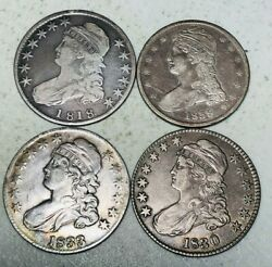 Us Type Coin Lot 4 1800and039s Bust Half Dollars 50c Ungraded Good 90 Silver A243