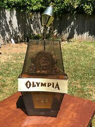 Vintage Olympia Beer On Tap Lighted Spinning Rotating Sign Bar Large Parts / Fix