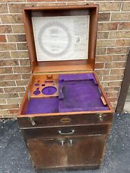 Vintage Moore Precision Tools Cabinet, Rotary Table Wood Cabinet