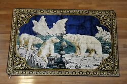 Beautiful Vtg Wall Hanging Tapestry Polar Bears 48quot; x 74quot;