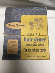 Vintage Handy Hannah Blue Metal Hair Dryer With Stand And Starburst Haircap