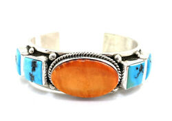 Native American Sterling Silver Navajo Spiny Oyster With Turquoise Cuff Bracelet