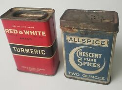 Vintage Crescent Pure Spices Tins Allspice And Red And White Turmeric