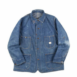 Blue Jay Denim Coverall Work Jacket Chinst Animal Button Menand039s 40s Vintage Used