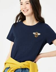 Joules Womens Carley Print Classic Crew T-shirt - French Navy Bee