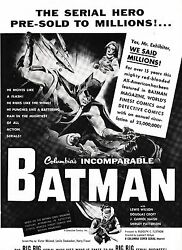 1954 Batman And Robin Serial Trade Magazine Ad Great Early Graphics Movie