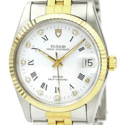 Auth Tudor Watch Oyster Date Diamond K18yg Ss 74033 Case34mm Automatic
