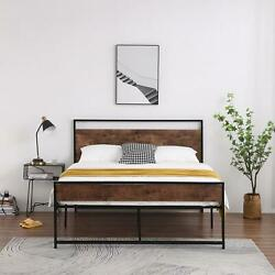 Twin/full/queen Size Metal Platform Bed Frame W/wooden Headboard Country Style