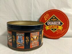Vintage 1983 Pure Quaker Oats Canister - Limited Metal Tin With Recipe Pamphlet