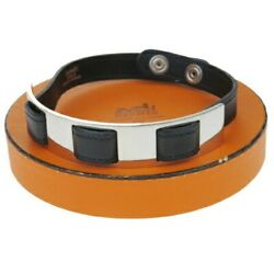 Hermes Pet Necklace Collar S Black Silver Leather Metal With Storage Box F/s