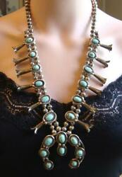 1930's-40's Navajo Old Nevada Turquoise Sterling Silver Squash Blossom Necklace
