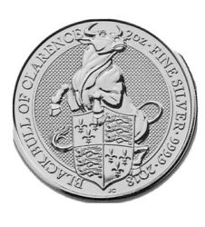 2018 Queens Beast Black Bull Of Clarence Bu From Mint Roll 2 Oz Silver .999