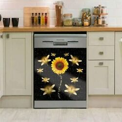 Dragonfly Dishwasher Door Cover Decals Sheet, Sunflower Magnetic Panel Sticker