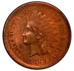 1869 Indian Head Penny/cent Double Strike Obverse Ms/gem Extremely Rare