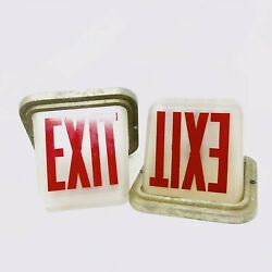 Vintage 1930s Lighted Exit Signs Dome Glass White With Red Font Pair