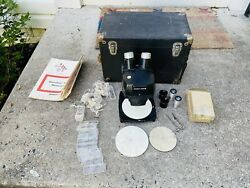 Old Vtg Bausch And Lomb Stereo Zoom Microscope And Accessories With Case