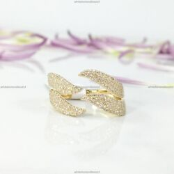 Gift For Her 14k Yellow Gold Natural Diamond Wave Design Band Birthday Ring