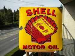 Xl Vintage Shell Motor Oil Porcelain Sign Pump Gas Station Lubricant Advertising