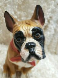 BOXER Vintage 1999 Resin Sitting Dog 9.75quot; Indoor Outdoor #13008 USA